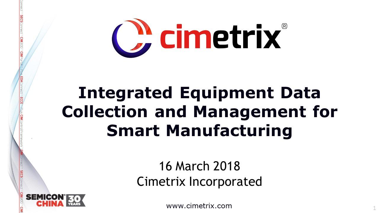 SEMICON China presentation on Smart Manufacturing