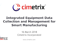 Integrated Equipment Data collection and management for smart manufacturing